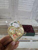BlumChen Valentine's Day card heart ornament foil filigree Victorian ornament Xm