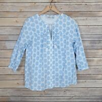 Vineyard Vines Womens Top Medallion Print Woven Top Blue and White Size Small