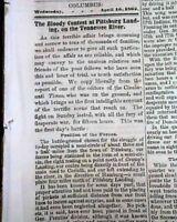 BATTLE OF SHILOH Pittsburg Landing Tennessee Abraham Lincoln Civil War 1862 News