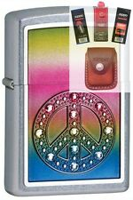 Zippo 24898 peace for all Lighter + FUEL FLINT WICK POUCH GIFT SET