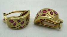 Vintage Pair of Quality Dual Fitting 14 carat Gold Ruby And Diamond Earrings