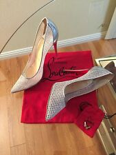 Christian Louboutin Follies Resille 100 Fishnet in Silver (Size 38)