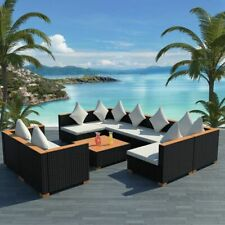 Outdoor Sofa Table Set 27 Piece Black Poly Rattan Wicker WPC Top Pool