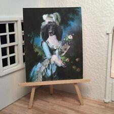 Miniature Dollhouse Shadow Box Art Marie Antoinette Poodle Portrait Handmade