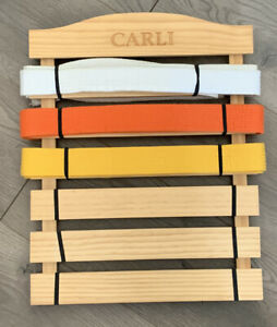 """Karate Belt Display Rack With Three Belts Personalized Wood """"Carli"""" Wall Hanging"""