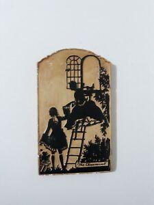 """Vintage Painted Silhouette Plaster Of Paris Tile """"The Elopemen""""  1930' 8.5"""" x 5"""""""