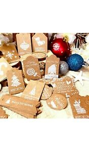 96 or 100Pieces / 10 or 12 Design Styles Christmas Present Gift Tags Labels