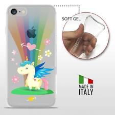 iPhone 7 TPU CASE COVER PROTETTIVA GEL ULTRA TRASPARENTE Unicorno Arcobaleno