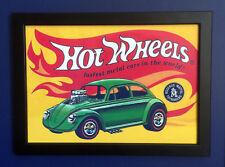 Hot Wheels Redline VW Beetle Bug 1968 Póster enmarcado tamaño A4 signo de tienda Folleto