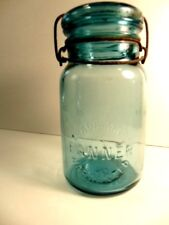 Older acqua blue Banner Warranted Trade Mark, #8 qt jar with glass lid & cage