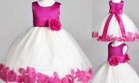 Ivory Flower Girl Bridesmaids Summer Easter Pageant Top Solid Magenta Dress #22