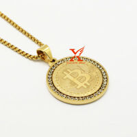 """24"""" Stainless Steel Gold Plated Lab Diamond Bitcoin QR Pendant Necklace Jewelry"""