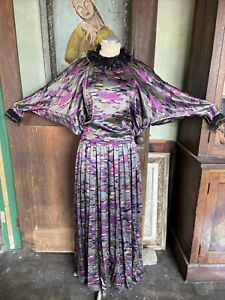 vintage Galanos designer 1970's abstract print dress ruffle party Net Bat Sleeve