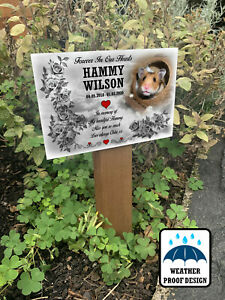 Hamster memorial grave marker, Photo plaque with wooden stake, Personalised.