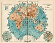 B6321 Mappamondo - Carta geografica antica del 1903 - Old map