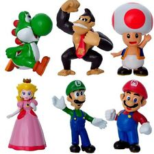 Set of 6 Super Mario Bros Toy Figurines For Children Boy Gift or Cake Toppers