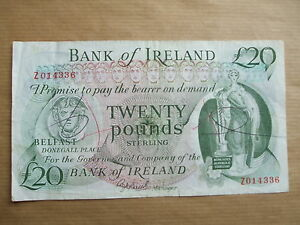 BANK  OF  IRELAND £20  NOTE, 1984. PREFIX  Z,  REPLACEMENT