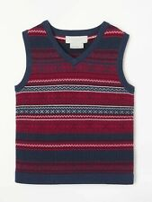 John Lewis Heirloom Collection Boys' Fair Isle Knitted Tank Top, Navy/Red AGE 10