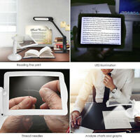 Hands-free 360° Magnifier Magnifying Glass LED Table Light Desktop Reading Lamp
