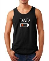 Tank Top Dad Low Battery Shirt Tired Daddy Funny Tee Fathers Day Empty Energy