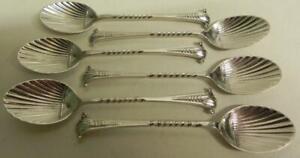 Antique Victorian Silver Shell Teaspoons. Set of 6 Art Nouveau. Lond' 1896 (308)