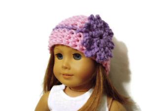 "Crochet Hat Fits American Girl Dolls 18"" Doll Clothes Pink w/ Purple Flower"