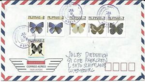 BUTTERFLIES - on beautiful cover from Philippines to Luxembourg (j31)
