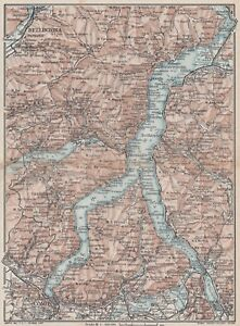 C2617 Lago di Como e dintorni - Carta geografica d'epoca - 1923 vintage map