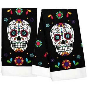 2pc SET Day-Of-The-Dead SUGAR SKULL HAND TOWELS Halloween Bathroom Kitchen Decor