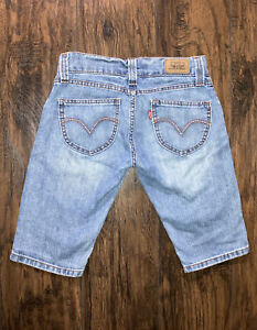 Levi's Slouch Long Low Light Blue Jean Bermuda Shorts Pink Embroidered Sz 5 L12