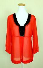 Womens WORTHINGTON Sheer Preppy Blouse Top L 3/4 Sleeve Ruffle Detail Orange Red