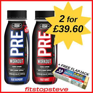 Muscle King PRE Workout 12 x 250ml - 350mg Caffeine Preworkout Drink