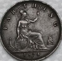 1874-H Great Britain Queen Victoria 1 One Farthing.  High Grade Beautiful Coin