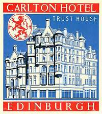 EDINBURGH SCOTLAND UK TRUST HOUSE CARLTON HOTEL ART DECO LUGGAGE LABEL