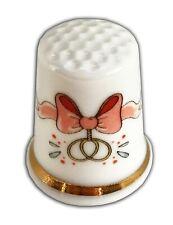 Personalised Wedding Bow Fine Bone China Thimble, Wedding Anniversary Engagement