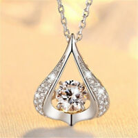 Women Delicate Heart Shaped Dancing Spin Hollow Pendant Necklace Jewelry Gift JA