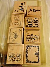 Vintage 1998 Set 8 Wood Mounted Rubber Stamps Christmas Gift Tags by Stampin Up