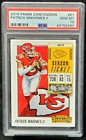 2018 Contenders 2nd Year Chiefs PATRICK MAHOMES Card PSA 10 GEM MINT Low Pop 184