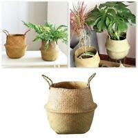 Seagrass Wicker Basket Foldable Nursery Plant Pot Storage Laundry Bag Home Decor