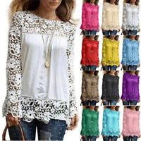 Women Long Sleeve Casual Loose Shirt Lace Blouse Ladies Top Tees Shirt Plus Size