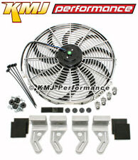 """12v Electric Curved S Blade 16"""" Chrome Cooling Fan w/ HD Aluminum Mounting Kit"""