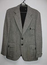 Vtg CLUSTER SWEDEN Retro Tweed Herringbone Jacket Suit Muscle  Wool Mens EU 46