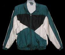 Sz M Vintage 1980s Lined Windbreaker Jacket First Run Nylon Front Zip Dark Green