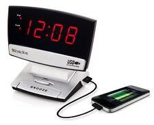 "Westclox 71014X 0.9"" LED Plasma Screen Alarm Clock with USB Charging Port Black"