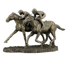 "12.5"" Two Jockeys Horse Racing Sculpture Statue Figurine Figure"