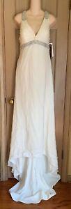 Winnie Couture Silk Wedding Dress Gown, Ivory w/ Silver, Sample Sz 10 - 12 Tags