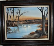 "Original Art OIL ON CANVAS Painting-""MRS. MILLER'S GEESE"" w/Creek 18x24 UnFramed"