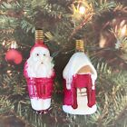 Figural Christmas Lights Santa Claus & Snowy House Set 2 Pcs Tested Working C6