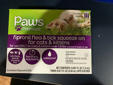 Paws Premium 3 Month Supply For Cats & Kittens Fipronil Flea & Tick Squeeze On