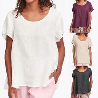 Women Short Sleeve T Shirt Loose Baggy Top Summer Scoop Neck Blouse Plus Size XL